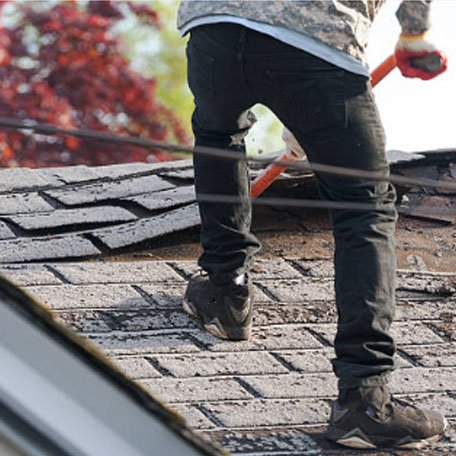 Old roof stripping