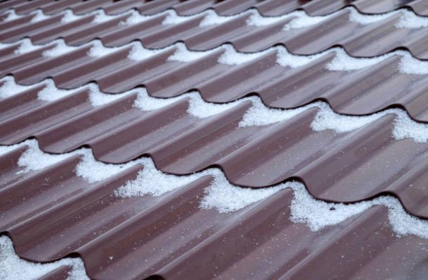 Snow on a metal roof