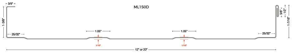 ML150D Standing Seam Drawing